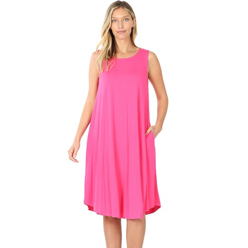 Viscose Sleeveless Swing T-Shirt Dress with Pockets (S-3X)