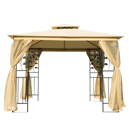 Outdoor Patio Gazebo Canopy Roof Steel Frame w/ Mesh Sidewalls Beige