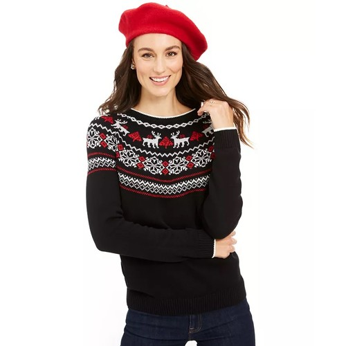 Charter Club Women's Metallic Fair Isle Family Sweater Black Size Medium