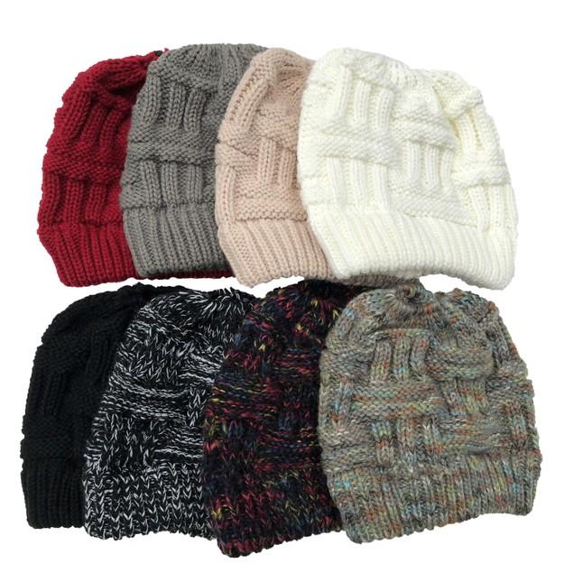 Women's Warm Ponytail Woolen Hat