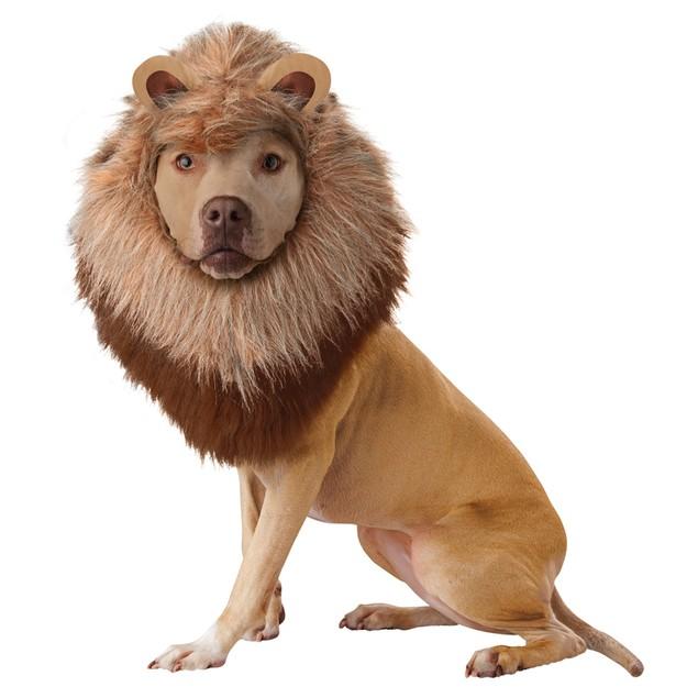 Animal Planet Lion Dog Pet Costume Mane Plush Headpiece  Wig Hair Ears King