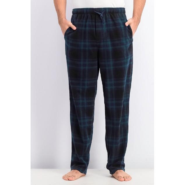 Perry Ellis Men's Plaid Fleece Pajama Pants Navy Size Medium