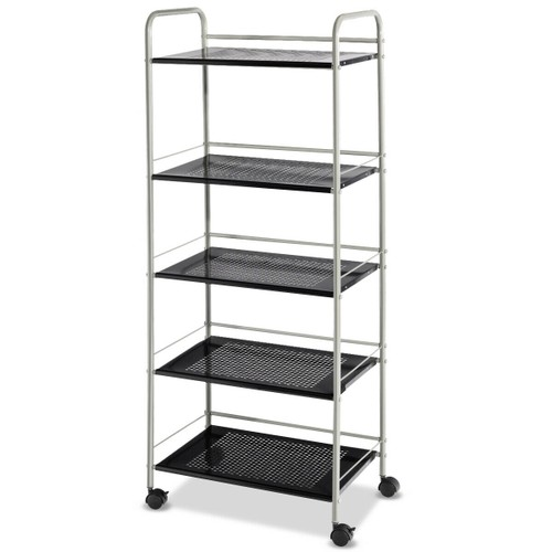 Costway 5 Tiers Garage Kitchen Storage Cart Rack Mesh Shelf Utility Cart Wh