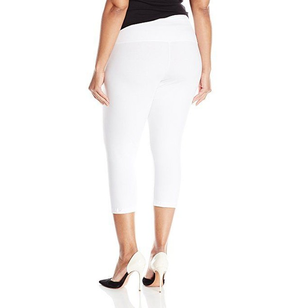 Lysse Women's Plus-Size Basic Cotton Capri, White, 2X
