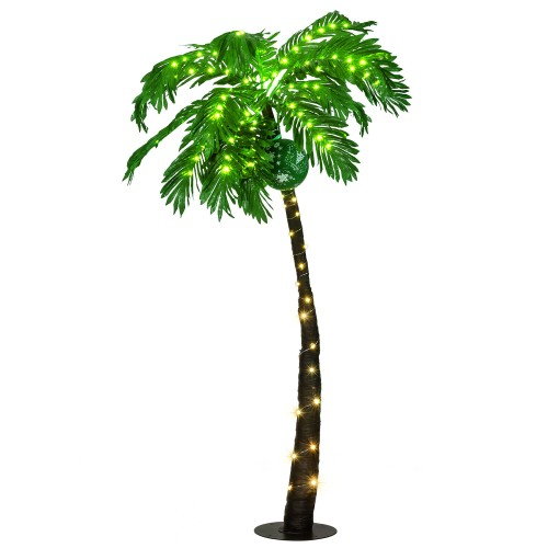 Costway 5 Ft Pre-lit Artificial Palm Tree Curve Trunk w/ Lights Home Pool G