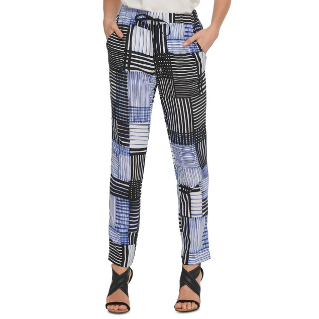 DKNY Women's Printed Pull-On Pants Blue Size Extra Small