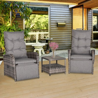 3 PCs Patio Rattan Wicker Chaise Lounge Sofa Set w/ Cushion for Patio Yard