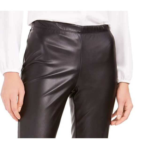 Bar III Women's Faux-Leather Skinny Pants Black Size Extra Large