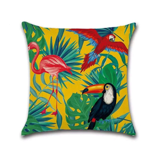 Pillowcases Hypoallergenic Linen Cushion Cover Only Couch (Parrot)