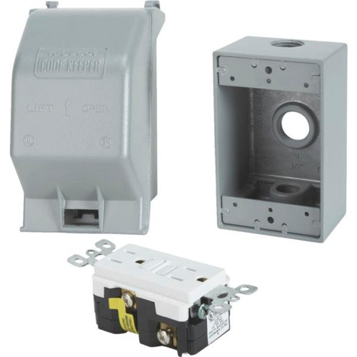Thomas & Betts CSMGV-NR Weatherproof Gfci Metal Lockable Outlet Kit, Gray