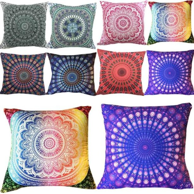 Colorful Print Pillow Case Sofa Waist Throw Cushion Two-Side Cover