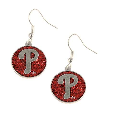 Philadelphia Phillies Glitter  Dangle Logo Earring Set Charm Gift MLB