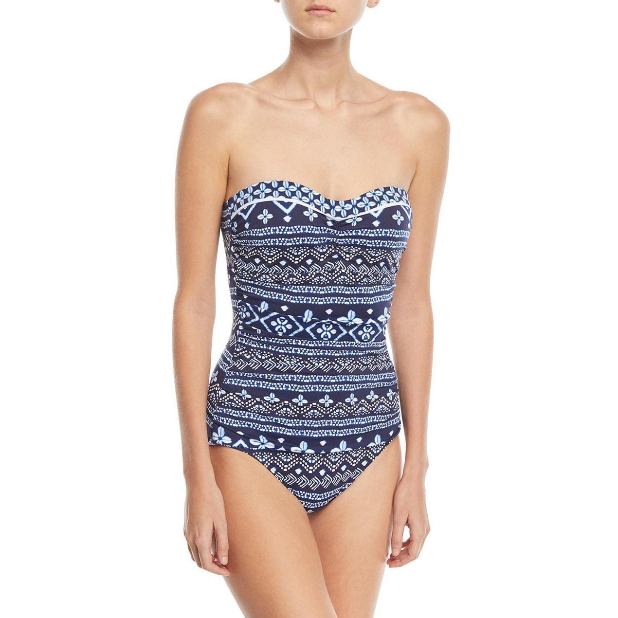 f5dade934f Tommy Bahama Indigo Cowrie Bandeau One-Piece Swimsuit - Tanga