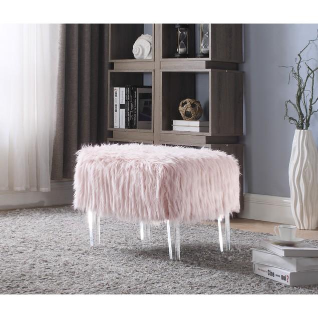 Chic Home Antonio Faux Fur Acrylic Leg Ottoman