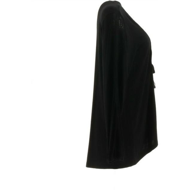 Denim & Co. Lace-up V-Neck HI-Low Hemline Long Sleeve Top, Large, Black