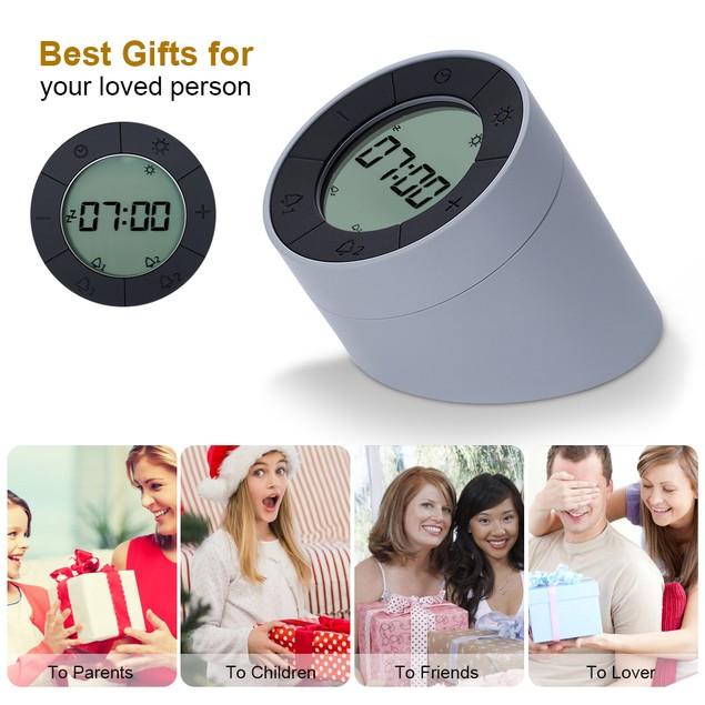 Digital Alarm Clock for Bedrooms, Travel, Kitchen, Desk, Office, Grey