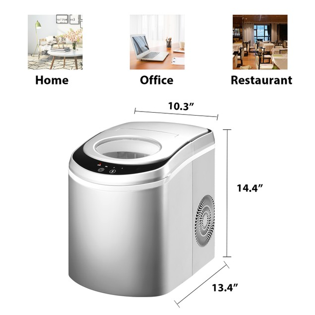 Ainfox Silver Electric Ice Maker Machine for Countertop, 26lbs Bullet Ice Cubes in 24H with Scoop and Basket