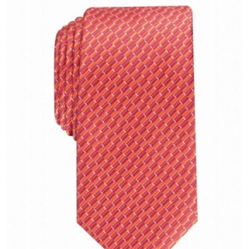 Perry Ellis Men's Cognac Portage Neat Skinny Slim Silk Tie Orange One Size