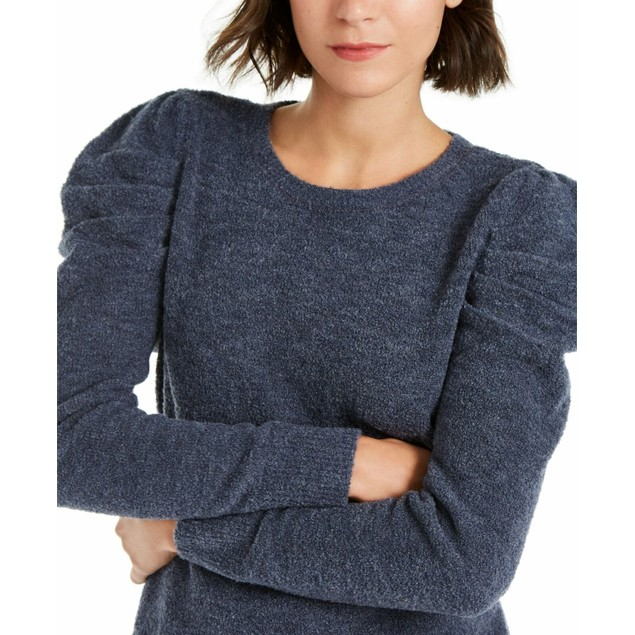 INC International Concepts Women's Puff-Sleeve Sweater Navy Size X-Small