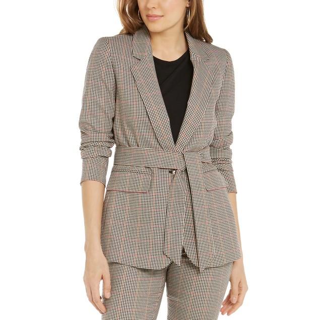 Bar III Women's Plaid Tie Waist Blazer Beige khaki Size Large