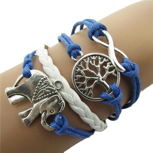 Handmade Charms Tree Elephant Knit Leather Rope Chain Bracelet