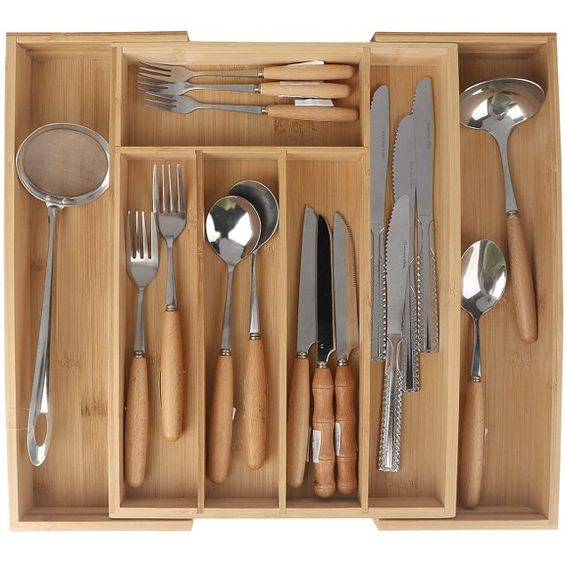 Expandable Bamboo Kitchen Drawer Organizer Kitchen Drawer Utensil Silverware Grooved Drawer Dividers for Kitchen Flatware
