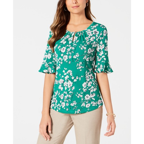 Charter Club Women's Ruffled-Sleeve Top  Green Size 2 Extra Large