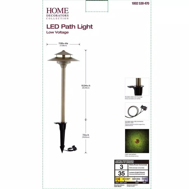Home Decorators Collection 3-Watt Brass Outdoor Integrated LED Path Light