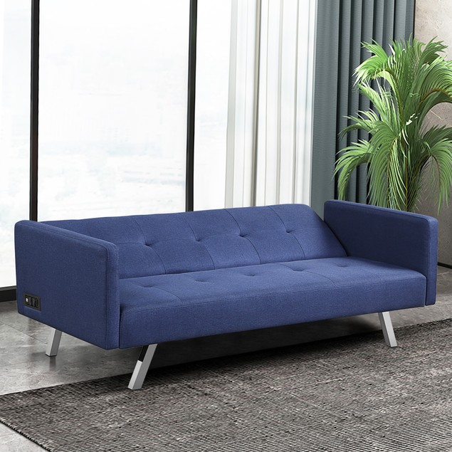Costway Convertible Futon Sofa Bed Folding Recliner w/USB Ports&Power Strip