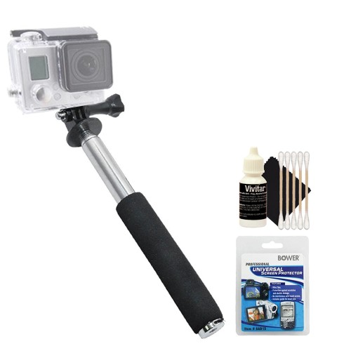 Monopod + Screen Protector Kit + 3pc Cleaning Kit
