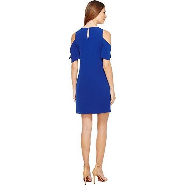 CeCe Women's Tie Sleeve Cold Shoulder Shift Dress Midnight Rush Sz 2