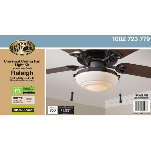 Hampton Bay Raleigh Integrated LED Natural Iron Universal Ceiling Fan Light