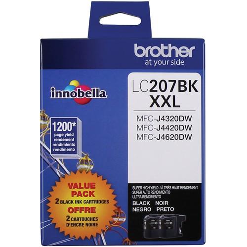 Brothers Brother Printer LC2072PKS Multi Pack Ink Cartridge, Black - Pack of 2