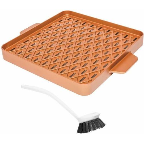 """Copper Chef Copper Barbecue Pan Griddle 12"""" Square X Design Non Stick Pan"""