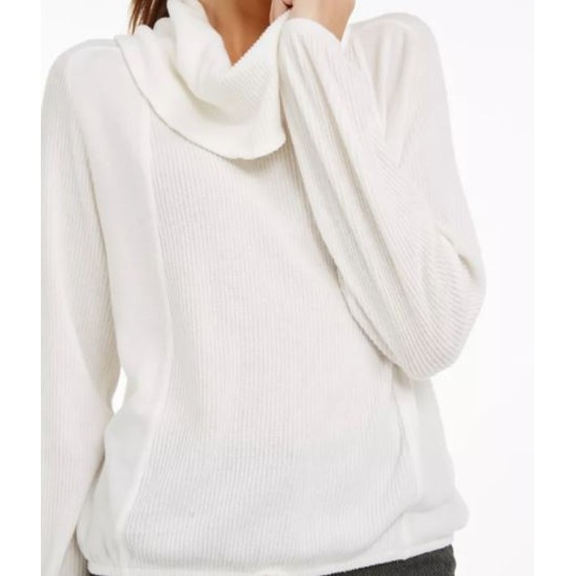 BCX Junior's Textured Cowlneck Drawstring Sweater White Size Medium
