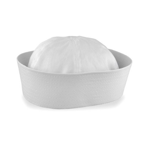 White Child Sailor Gob Hat Cotton Cap Doughboy Navy Csotume Popeye Gilligan