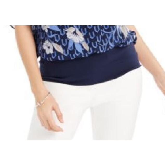 JM Collection Women's Flutter-Sleeve Banded-Hem Top  Blue Size Large
