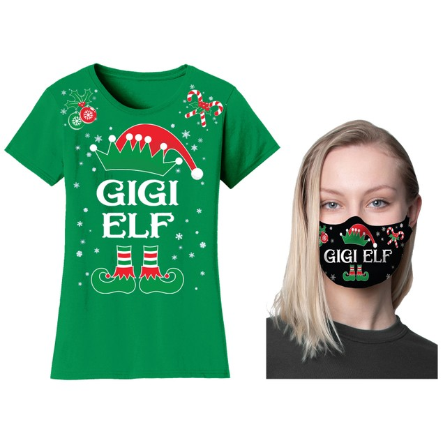 Women's Family Elf Christmas T-Shirts and Long Sleeve Shirts with Free Mask
