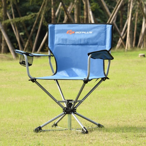 Goplus Collapsible Portable Swivel Camping Chair 360degreesFree Rotation fo