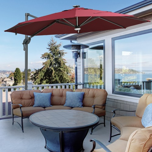 10 ft Outdoor Porch Umbrella w/ UV-Fighting Polyester & Aluminum Pole, Red