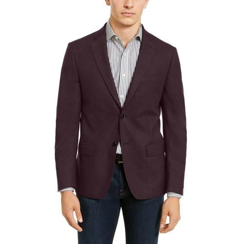 Calvin Klein Men's Slim-Fit Textured Sport Coat Wine Size 44 Regular