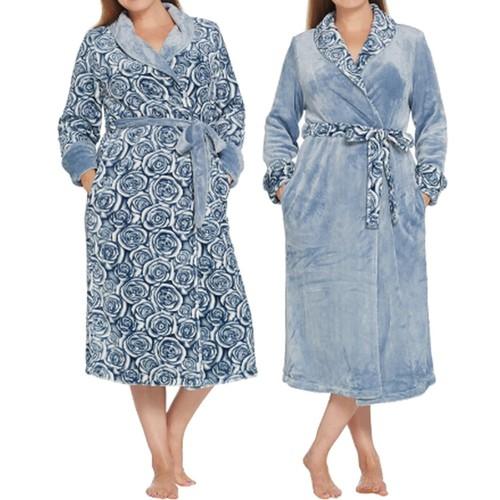 Casa Zeta-Jones Reversible Velvet Soft Rose Robe, Medium, Infinity Blue