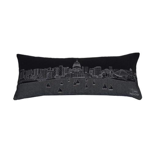 Spura Home Madison Skyline Embroidered Wool Cushion Day/Night Setting