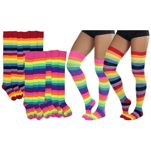 (2 or 6 Pairs) ToBeInStyle Women's Thigh-High Rainbow Fun Acrylic Socks