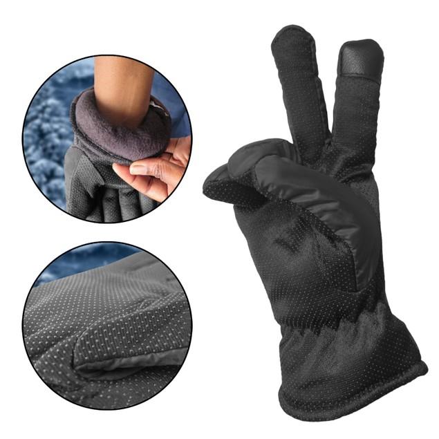 Men's Winter Windproof Fleeced Lined Outdoor Snow Ski Black Gloves