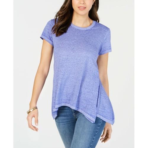 Style & Co Women's Burnout Handkerchief-Hem T-Shirt Blue Size 2 Extra Large