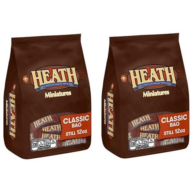 Heath Milk Chocolate English Toffee Bar Miniatures 2 Bag Pack