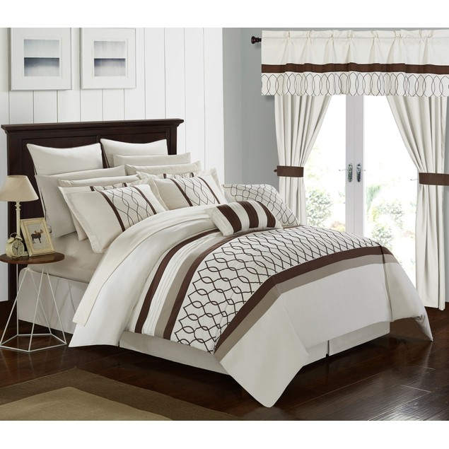 Chic Home 24 Pc. Topaz Bedroom in a Bag Pinch Embroidered Comforter Set