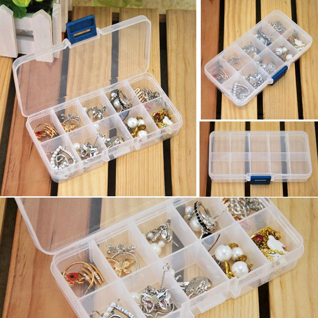 10 Grids Jewelry Nail Art Tips Storage Case Box Holder Container booth