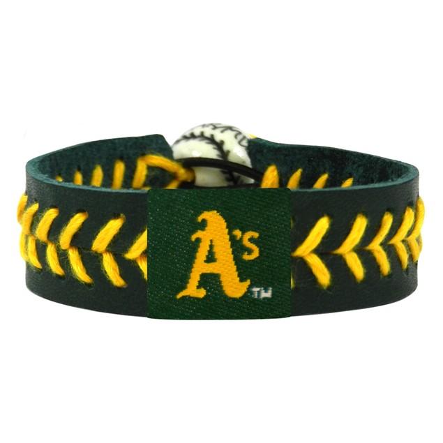 Oakland A's Team Color Baseball Bracelet OAK MLB Leather Stitch